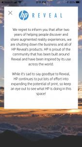 HP Reveal Shutting Down